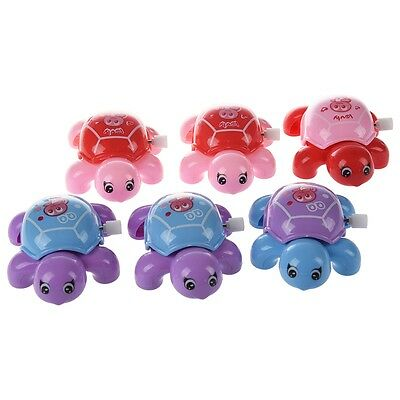 5X (New 6 Pcs Practical Assorted Color Plastic Wind-up Tortoise Toy for Child F6