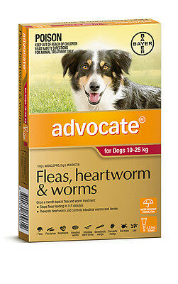 Advocate for Dogs 10-25kg Worming and Flea Treatment for Dogs Free Shipping