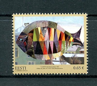 Estonia 2016 MNH Estonian Art Museum Treasury 1v Set Fish Paintings Stamp