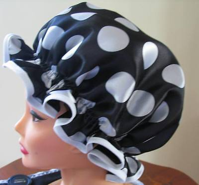 SHOWER CAP HAT   HANDMADE, WATERPROOF Black satin with large white polka dots