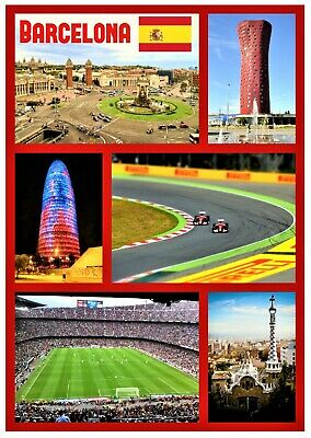 Barcelona, Spain - Souvenir Novelty Fridge Magnet  Sights / Flags  - Gifts - New