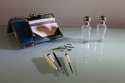 Antique Etui Ladies Desk Tidy Silk Lined Miniature Glass Ink Bottles Pyography