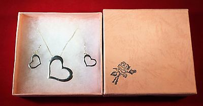 Open Heart .925 Sterling Silver Pendant Chain Necklace And Stud Earrings Set