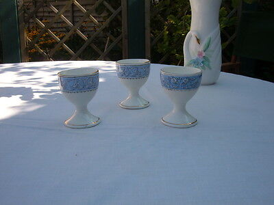 3 Antique Crown Staffordshire Cameo Pattern Egg Cups  - C1900