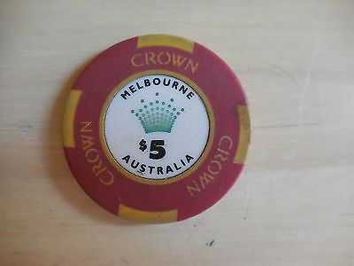 Melbourne Crown Casino $5 Playing Chip