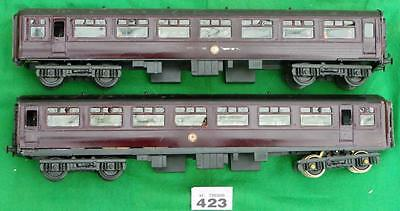 #423 2 Tri-ang Big Big coaches, REPAINTED MAROON, 1 WITH MOTOR FITTED O gauge.