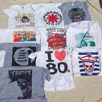 Wholesale Job Lot Of 10 T-Shirt Printed Ex Display Mixed Sizes Prints Music #66