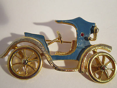 """Statement Piece - Large Brooch Vintage Car With Moving Wheels """" Hollywood """""""