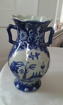 Large Ironstone Blue and White Willow Pattern Transfer Vase