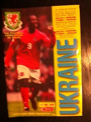 WALES v  Ukraine 28th March 2001 World Cup qualifier football programme