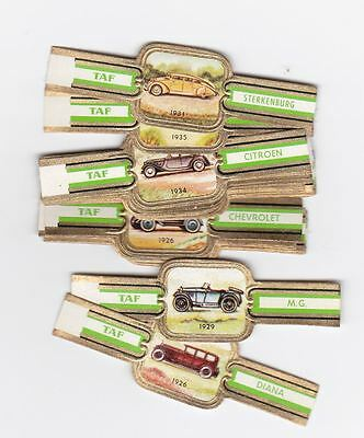 24 cigar bands Taf Old Car Series 2 green iss in 1960 RARE!!