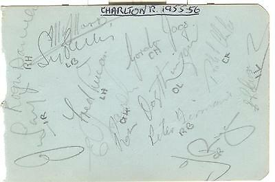 CHARLTON RES & CRYSTAL PALACE 1955/6 PLAYERS HAND-SIGNED ALBUM PAGE - BERRY etc