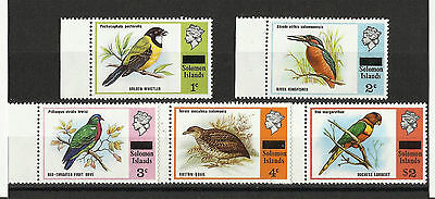 Solomon Islands - Bird stamps from 1975 set - MNH - With Obliterating Bar