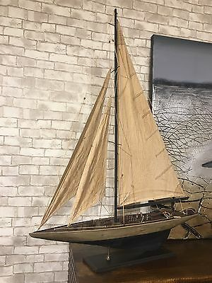 118x90x15cm Handcrafted Wooden Timber Model Sailing Display Boat Ship Antique