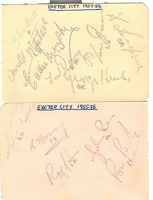Exeter & Millwall, Southend Reserves 1955/6 Players Hand-Signed Album Pages