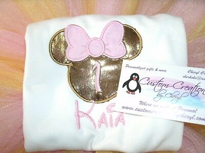 Minnie Birthday Number Personalized Shirt ANY NAME & COLOR SCHEME 1st Birthday