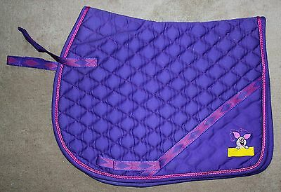 Rare Purple DISNEY PIGLET Quilted Embroidered Numnah/Saddle Pad Pony 20x18ins
