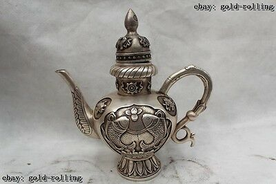 """9""""Chinese Lucky Fengshui Folk Silver cyprinoid eight treasures Wine Pot Flagon"""