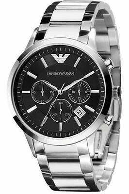 New Mens Emporio Armani Ar2434 Stainless Steel Chronograph Watch
