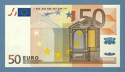 Error Banknote. Fifty Euros.  2002.  V Prefix.  Misaligned and Incomplete.