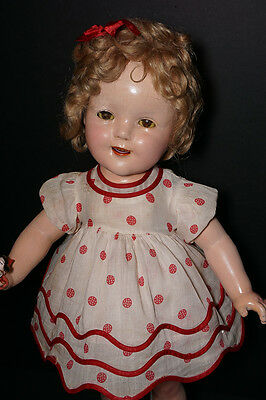 "Vintage Composition 20"" Ideal Shirley Temple Doll RARE Tagged Dress"