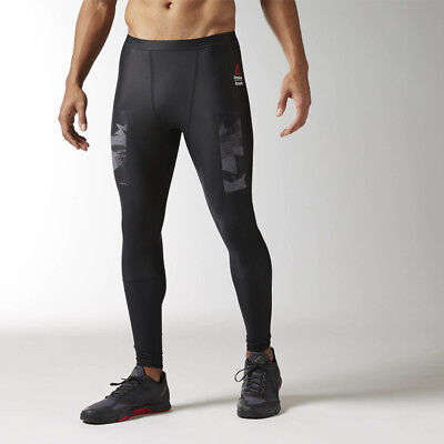 Reebok CrossFit Mens Black Compression Running Fitness Long Tights Bottoms Pants