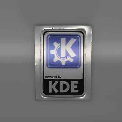Powered by KDE Linux Metal Decal Sticker Computer PC Laptop Badge