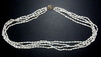 Four18 Strand Freshwater Pearl Necklace With 14Ct Gold Oriental Chinese Clasp.