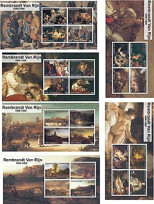 Rembrandt Paintings Art 6 Souvenir Sheets Mnh Imperforated