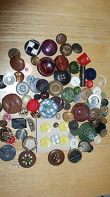 job lot of vintage buttons, deco, 1950's , 60's, metal, glass