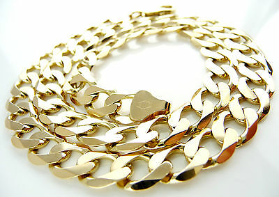 """18"""" Very Heavy 9ct Solid Gold Curb Link Chain (39.14g)Hallmarked Necklace 9k 375"""