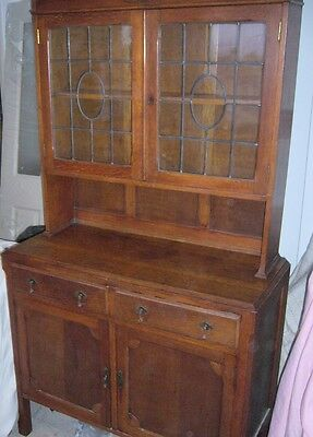 Antique Real Wood Solid Welsh Dresser Leaded Glass Cupboards