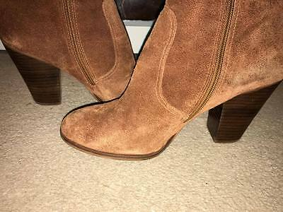 Real suede brown leather ankle boots size 6 AREZZO