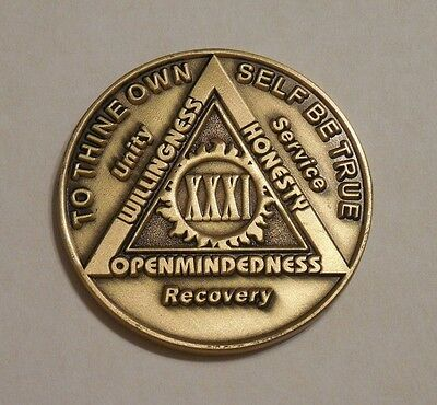 aa bronze alcoholics anonymous 31 year sobriety chip coin token medallion