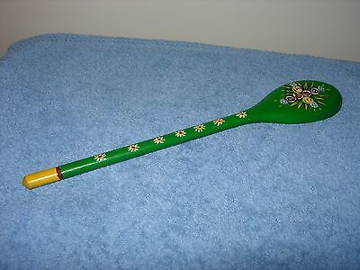 A pretty  vintage handpainted decorative bargeware wooden spoon