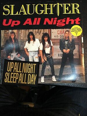 "SLAUGHTER - UP ALL NIGHT 7""+ Original Free Patch.Metal,Glam,Rock,Heavy Metal Ex"