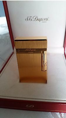 S.T. Dupont Briquet De Poche L2 Montparnasse Gold, Gold Plated Gas Lighter, NEW!