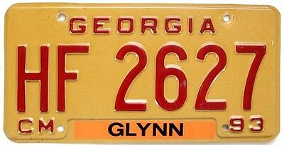 Georgia 1993 Commercial Truck License Plate, HF 2627, Glynn County, Red on Gold
