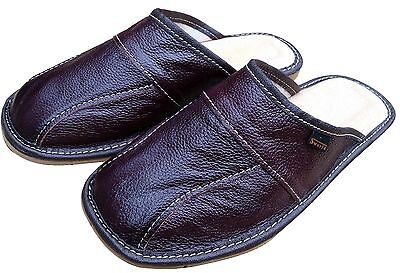 Mens Leather Slippers Shoes, Sandals, Slip On Mules, Maroon Brown Size 6-11 UK