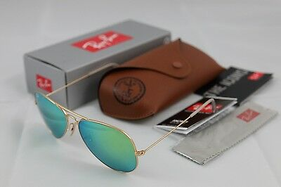 New RAY BAN Aviator Sunglasses Matte Gold Frame RB 3025 112/19 Green Mirror 58mm
