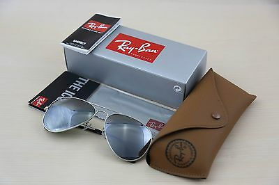 RAY BAN RB 3025 W3277 SILVER GREY MIRROR AVIATOR SUNGLASSES  58mm  Original