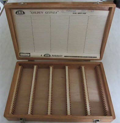 VINTAGE WOODEN SLIDE STORAGE BOX 150 - wooden dividers JRD Golden Guinea CASE