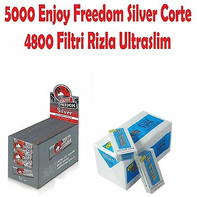 5000 Cartine Enjoy Freedom Silver Corte / 4800 Filtri Rizla Ultraslim