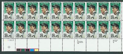 USPS stamps #2417 Lou Gehrig 25c MNH Double Strip of 20 stamps New York Yankees