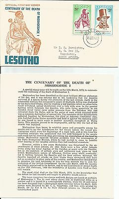 Lesotho  1970  Anniversary Death Moshoeshoe 1  Maseru to South Africa  FDC Cover