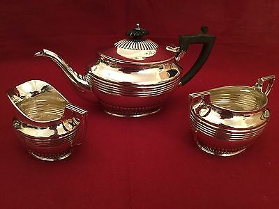 Victorian 3 Piece Solid Silver Batchelor Tea Service by Hamilton & Inches 1897