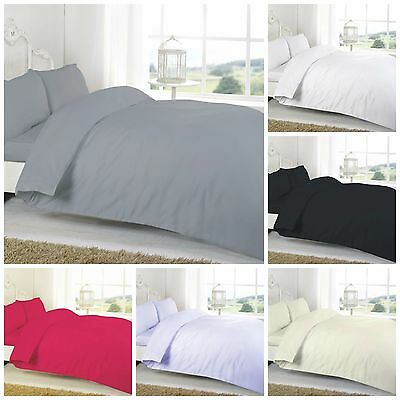 Warm Flannelette 100% Brushed Cotton Thermal Duvet Quilt Cover Bedding Set Plain