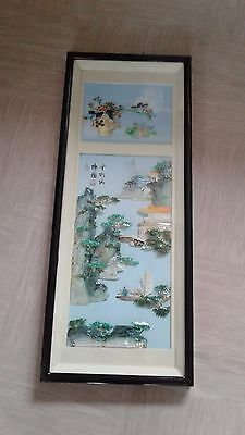 large vintage Chinese shell picture diorama signed