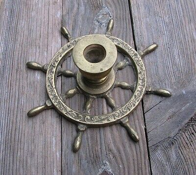 Vintage Solid Brass Nautical Ships Wheel Candle Stick Holder