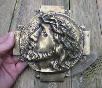 Old Beautiful Bronze / Brass Jesus Christ Relief Plaque Christianity